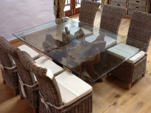 1.8m Reclaimed Teak Root Rectangular Dining Table with 6 Latifa Chairs