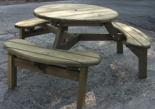 6 Seater Round Picnic Bench