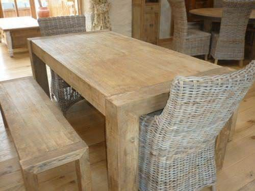 1.8m Reclaimed Elm Chunky Style Dining Table with 2 Donna Chairs & 2 Backless Benches