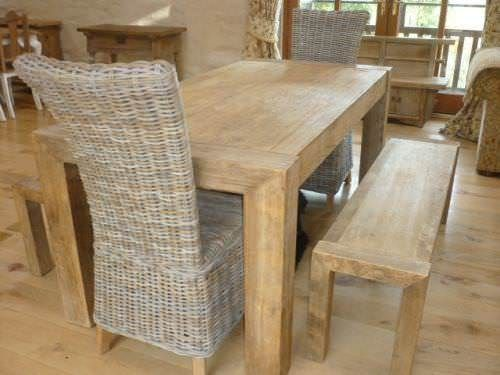 1.8m Reclaimed Elm Chunky Style Dining Table with 2 Latifa Chairs & 2 Backless Benches