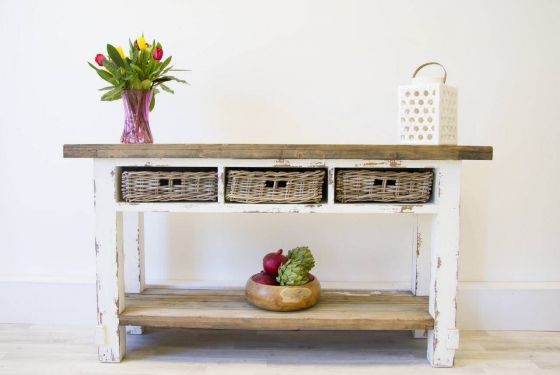 Reclaimed Pine Coastal Console Table