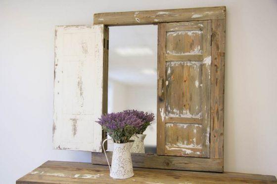Reclaimed Pine Coastal Shutter Mirror