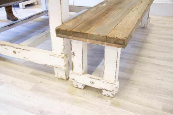 Reclaimed Pine Coastal Dining Bench