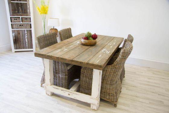 1.8m Reclaimed Pine Coastal Dining Table with 4 Donna Armchairs