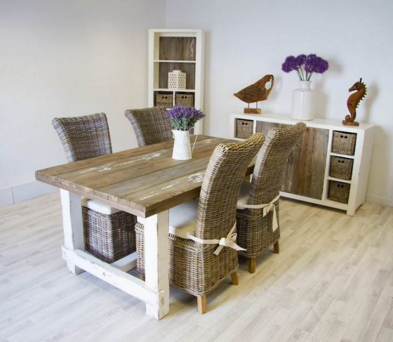1.8m Reclaimed Pine Coastal Dining Table with 4 Latifa Chairs