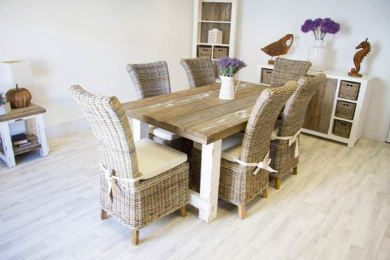 1.8m Reclaimed Pine Coastal Dining Table with 6 Latifa Chairs