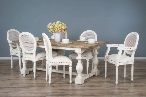 2m Reclaimed Pine Ellena Dining Table with 4 Ellena Chairs and 2 Armchairs