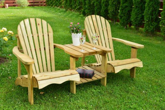 Swedish Redwood Double Adirondack Relaxing Chair