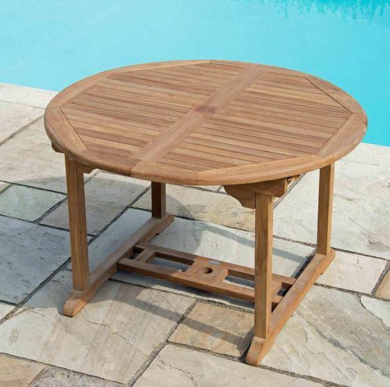 Teak Table Circular Extending 1.2m x 1.2m-1.8m