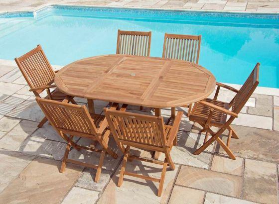 1.2m x 1.2m - 1.8m Teak Circular Extending Table with 6 Kiffa Folding Armchairs