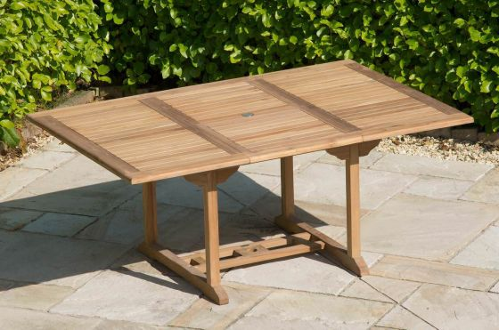 1.8m-2.4m x 1m Teak Rectangular Extending Table