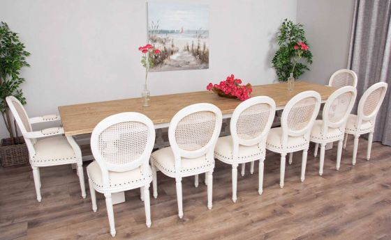 3.6m Reclaimed Pine Ellena Dining Table with Six Ellena Chairs, Two Ellena Armchairs and Ellena Dining Bench