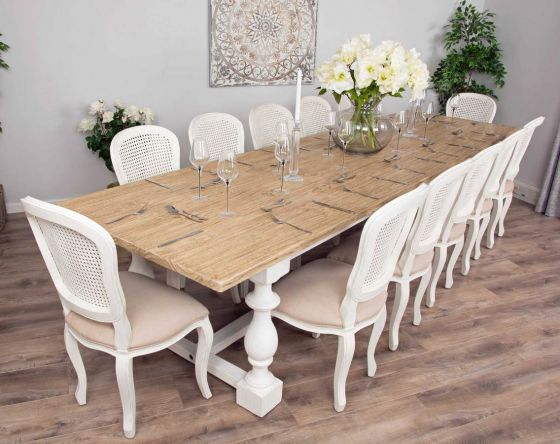 3.6m Reclaimed Pine Ellena Dining Table with 12 Murano Dining Chairs