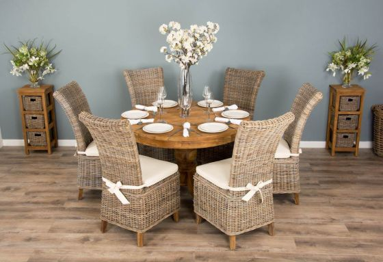 1.2m Reclaimed Teak Circular Pedestal Dining Table with 6 Latifa Dining Chairs