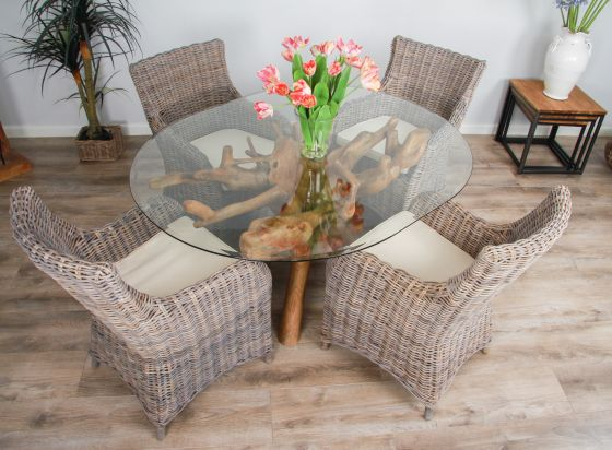 1.5m x 1.2m Reclaimed Teak Root Oval Dining Table with 4 Donna Armchairs