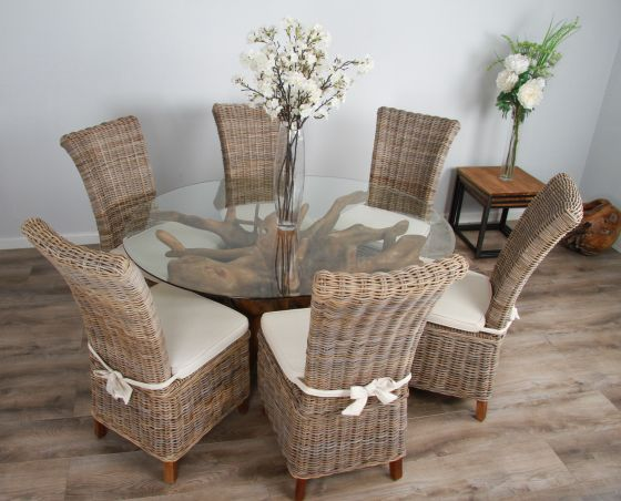 1.5m x 1.2m Reclaimed Teak Root Oval Dining Table with 4 or 6 Latifa Chairs