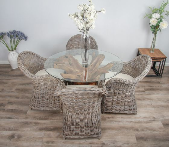 1.2m Reclaimed Teak Root Circular Dining Table with 4 Riviera Armchairs