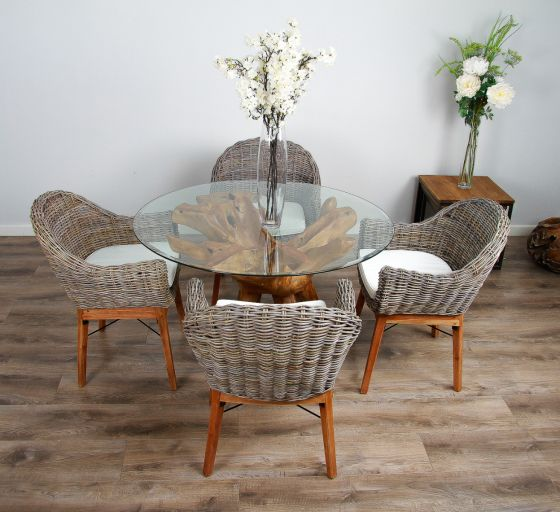 1.2m Reclaimed Teak Root Circular Dining Table with 4 or 6 Scandi Chairs