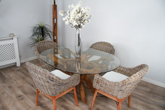 1.5m x 1.2m Reclaimed Teak Root Oval Dining Table with 4 or 6 Scandi Chairs