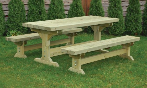 Farmhouse Garden Dining Table and Bench Set