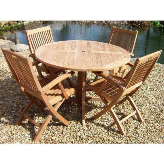 1.2m Teak Circular Gateleg Table with 4 Marley Chairs