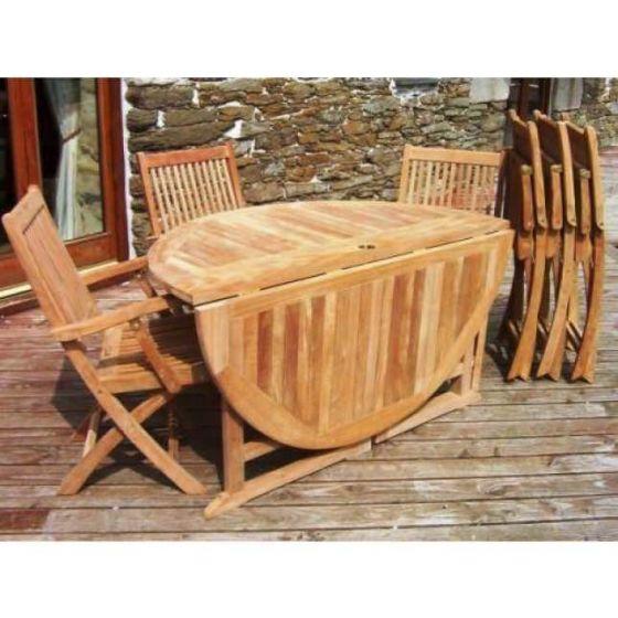 1.4m Teak Circular Gateleg Table with 6 Kiffa Folding Armchairs