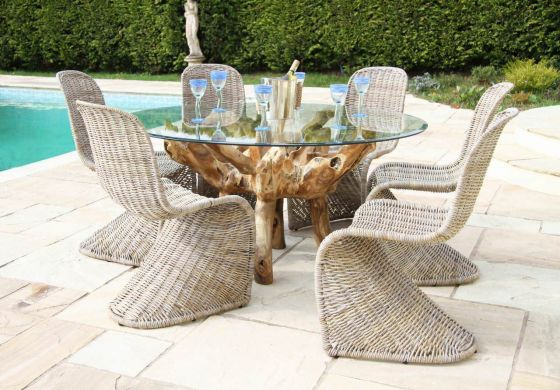 1.5m Reclaimed Teak Root Garden Dining Table with 6 Stackable Zorro Chairs