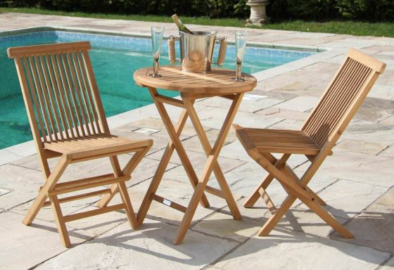 60cm Teak Round Folding Table with 2 Classic Folding Chairs