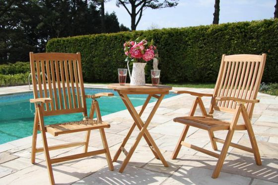 60cm Teak Bistro Folding Table with 2 Harrogate Reclining Chairs