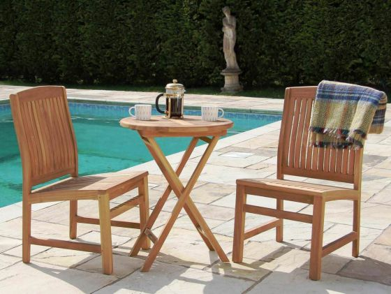 60cm Teak Bistro Table with Two Solid Teak Chairs or Armchairs