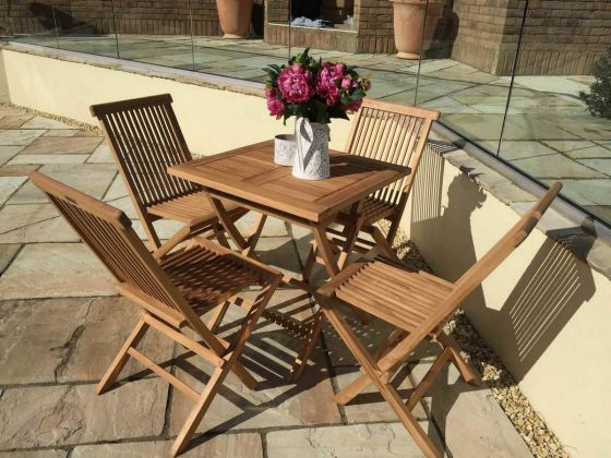 70cm Teak Square Folding Table with 4 Classic Folding Chairs - With or Without Arms