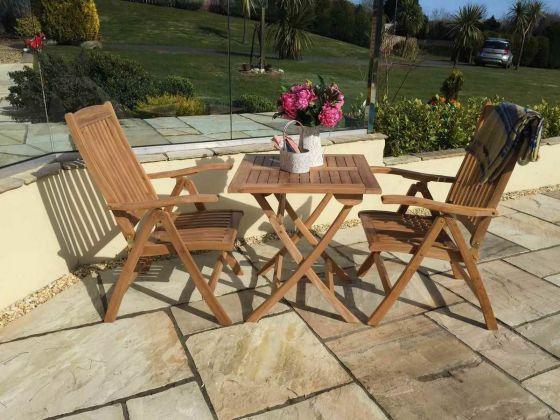 70cm Teak Square Folding Table with 2 Harrogate Recliners