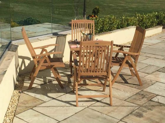 70cm Teak Square Folding Table with 4 Harrogate Recliners