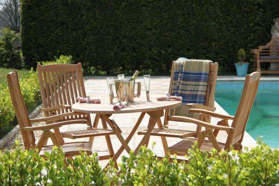 1m Teak Circular Folding Table with 4 Harrogate Recliners