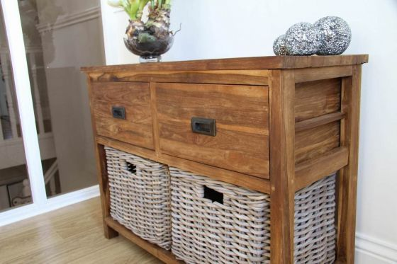 Reclaimed Teak 2 Drawer 2 Basket Storage Unit