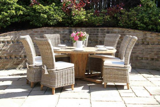 1.8m Reclaimed Teak Circular Character Garden Table with 8 Latifa Chairs