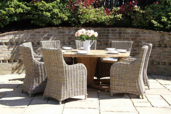 1.8m Reclaimed Teak Circular Character Garden Table with 8 Donna Chairs