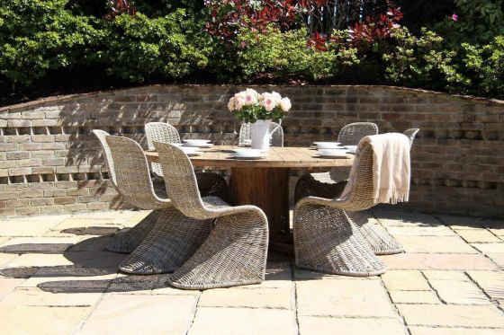 1.8m Reclaimed Teak Circular Character Garden Table with 8 Stackable Zorro Chairs