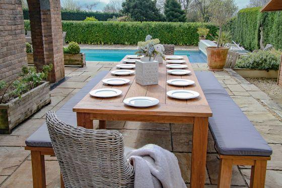 3m Reclaimed Teak Open Slatted Dining Table with 2 Backless Benches and 2 Donna Chairs