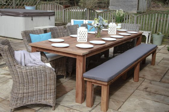 3m Reclaimed Teak Open Slatted Dining Table with 1 Backless Bench and 6 Donna Chairs