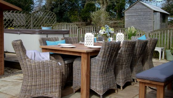 3m Reclaimed Teak Open Slatted Dining Table with 10 Donna Armchairs