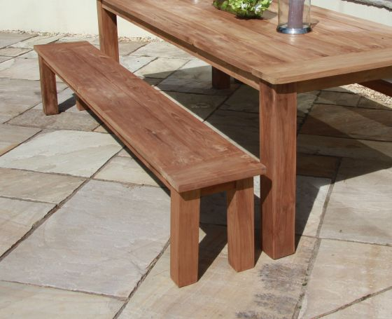 2m Reclaimed Teak Backless Outdoor Open Slatted Dining Bench