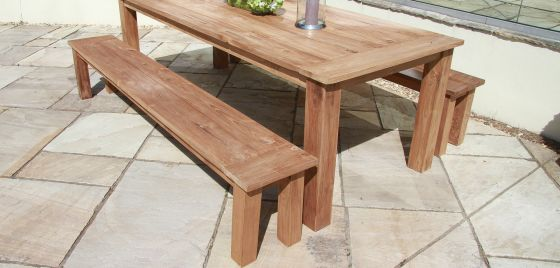 2.4m Reclaimed Teak Backless Outdoor Open Slatted Dining Bench