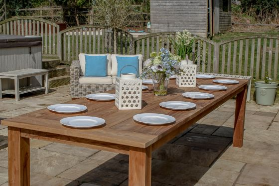 3m Reclaimed Teak Open Slatted Dining Table