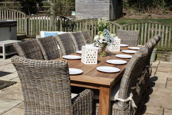 3m Reclaimed Teak Open Slatted Dining Table with 10 Latifa Chairs and 2 Armchairs