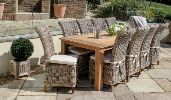 2.4m Reclaimed Teak Open Slatted Garden Table with 10 Latifa Chairs