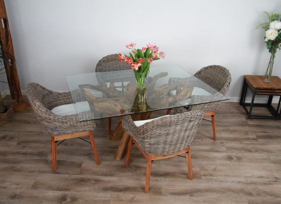 1.5m x 1.2m Reclaimed Teak Root Rectangular Dining Table with 4 or 6 Scandi Chairs