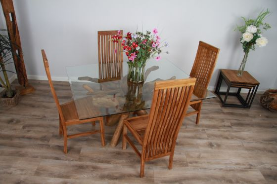 1.5m x 1.2m Reclaimed Teak Root Rectangular Dining Table with 4 or 6 Vikka Chairs