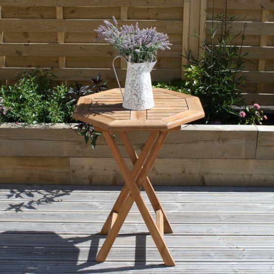 60cm Teak Octagonal Folding Table