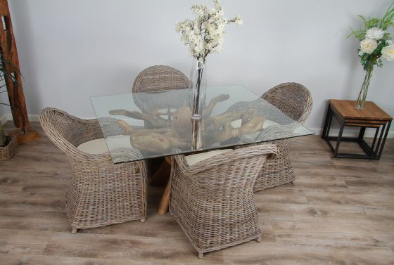 1.5m x 1.2m Reclaimed Teak Root Rectangular Dining Table with 4 or 6 Riviera Armchairs